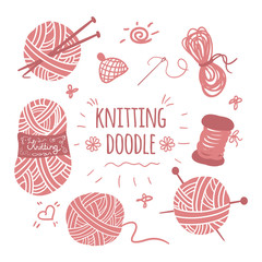 Knitting doodle icons set. Icons and logos set for sewing and knitting studio. Knitting and crochet set of icons. Hand drawn knitting collection.
