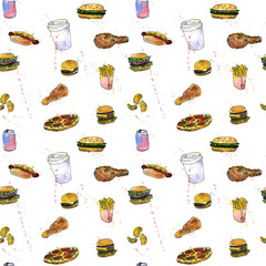 seamless pattern with fast food sketch