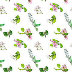 seamless pattern with spring tree flowers