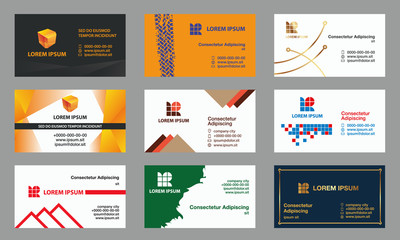 Set of business cards templates. Modern geometric branding for the business.