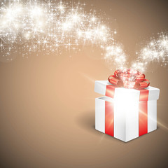 Gift box with glowing star light Vector