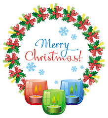 """Christmas garland, lighted candle and holiday greeting text """"Merry Christmas!""""."""