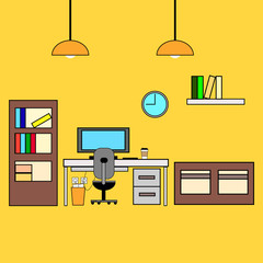 Contour workspace. Office interior or home workplace in linear style. Vector illustration