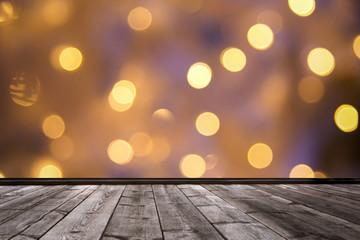 wood floor and bokeh nigt light background