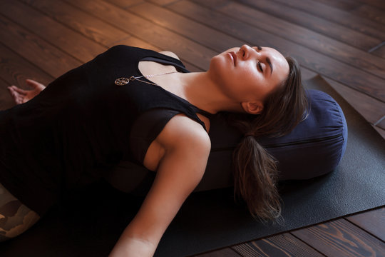 Girl relaxing after a yoga class