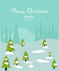 Christmas card in a flat style. Snowy forest with fir trees. The inscription Merry Christmas. Vector illustration.