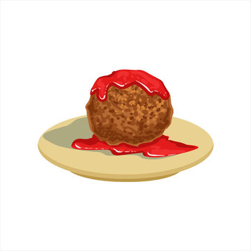 Gian Meatball With Tomato Salsa Traditional Mexican Cuisine Dish Food Item From Cafe Menu Vector Illustration
