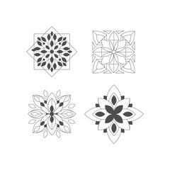 Regular Shape Four Doodle Ornamental Figures In Monochrome Colors For The Zen Adult Coloring Book Set Of Illustrations
