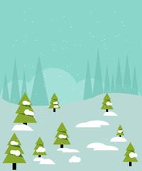 Christmas card. Snowy forest with fir trees. Vector illustration.