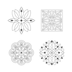 Regular Shape Four Doodle Ornamental Figures In Monochrome Colors For The Adult Coloring Book Set Of Illustrations