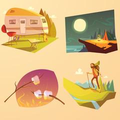 Camping And Hiking Cartoon Set