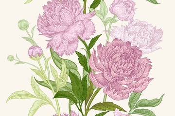 Seamless pattern with peony flowers.