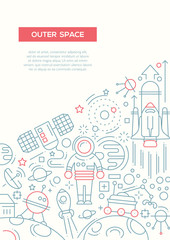 Outer Space - line design brochure poster template A4