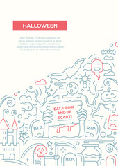 Halloween - line design brochure poster template A4