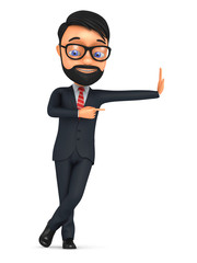 Cheerful businessman points finger. 3D Illustration for advertis