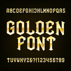 Golden Antique alphabet vector font. Metallic effect type letters symbols and numbers. Vintage vector alphabet for labels, headlines, posters etc.