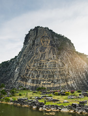 Buddha Mountain (Khao Chi Chan), statue on rock mountain in Chon Buri, Thailand, public domain