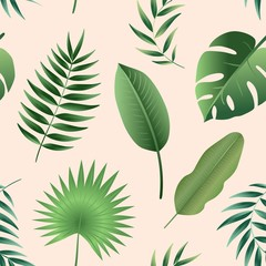 Vector seamless pattern tropical leaves. Palm leaf, banana leaf. Jungle trees.Botanical (floral) background