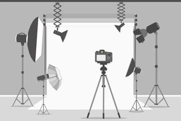 Simple photo studio. White background with lights and cameras.