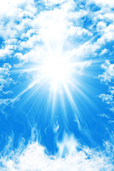 Heaven With Blue Sky, Clouds And Sun Light Background