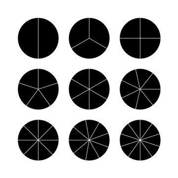 Circle segments set. Black flat color.