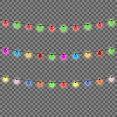 Christmas lights isolated design elements. Set of color garlands. Glowing christmas lights