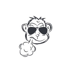 Monkey Wearing Glass Smoking Logo