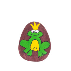 A Green King Frog Painted on a Pebble Stone Isolated on a White Background