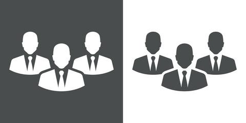 Icono plano grupo hombres de negocio gris y blanco