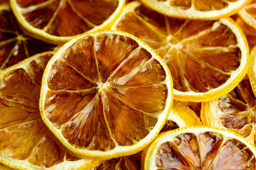 Tangy and tasteful slices of dehydrated lemon.