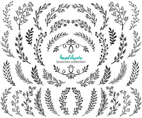 Big set of hand drawn vector flowers and branches with leaves, berries.
