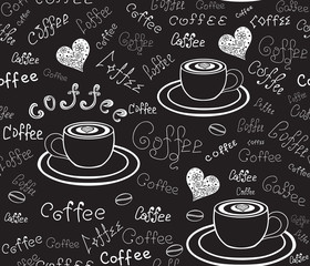 "Food and drink vector seamless pattern with hand drawn coffee cups, hearts, beans and words ""Coffee"" handwritten by chalk on grey board"