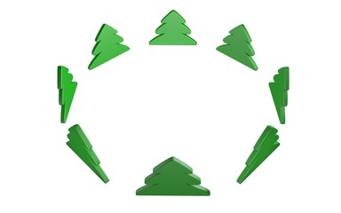 Christmas tree in wide cirlce. Isolated on white. Render.