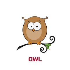 Owl in cartoon style sitting on branch. The image on white backg