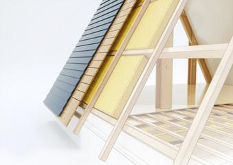 Konstruktionszeichnung eines Daches mit technischen Details - 3D Rendering