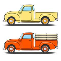 Set of color retro pickup truck. Vector doodle illustration