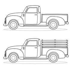 Retro pickup truck. Vector doodle illustration