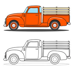 Pick-up truck. Vector doodle illustration