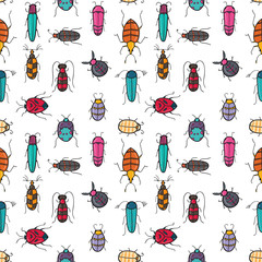 Seamless texture with funny bugs, painted by hand of different patterns, bright colors/ Vector doodle illustration
