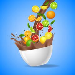 Bowl of healthy fresh fruits splash of milk chocolate. Vector illustration