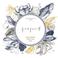 Vector hand drawn seafood logo. Lobster, salmon, crab, shrimp, ocotpus, squid, clams.Engraved art in round composition.