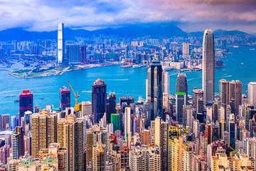 Hong Kong, China Cityscape from Victoria Peak at twilight.
