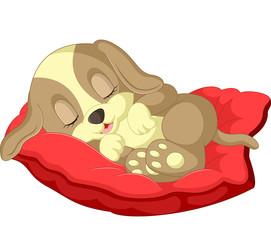 Cute dog cartoon sleeping