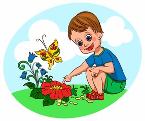 A little boy sits, considers, plants, flowers, watching a butterfly. On the street the summer heat, he walks in the fresh air, in nature. Like a baby to discover the wonderful world of nature.