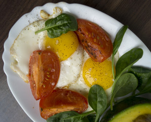 Fried eggs with avocado, spinach and tomatoes.