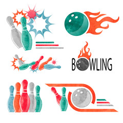 Set of watercolor colorful bowling logo, icons and symbols isolated on white. Bowling ball and pins vector illustration. Design elements.