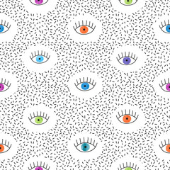 Abstract seamless pattern with watercolor colorful eyes. Retro fashion texture, 80s - 90s style. Vector background.