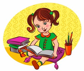 Little girl looking at a book, studying pictures, reading stories. The child in the library. Baby love children's stories.