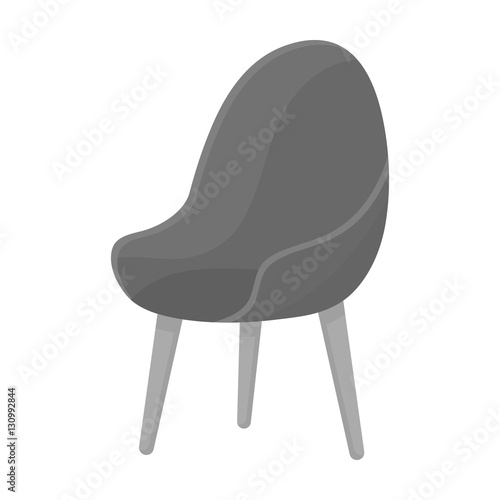 Red Oval Chair Icon In Monochrome Style Isolated On White