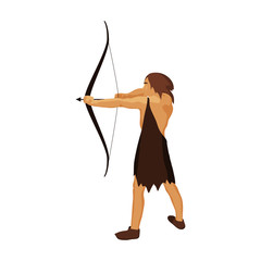 Caveman with bow and arrow icon in cartoon style isolated on white background. Stone age symbol stock vector illustration.